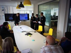 Students practising their pitch at Awards Accelerator Moo.