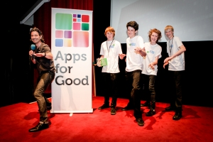 The ShoreCast team celebrated their win at the Apps for Good Awards 2014 with Bob Schukai of Thomson Reuters
