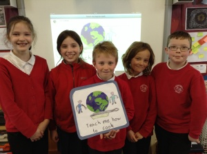 Ellie, Kara, Ewan, Harry, and Ewan from Lochdonhead Primary School