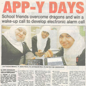 The creators of BuzzerBuddies, featured in the press. East London Advertiser, 31 March 2011.
