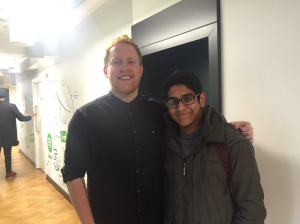 Jashvanth with the artist Gavin James at the Spotify office in London.