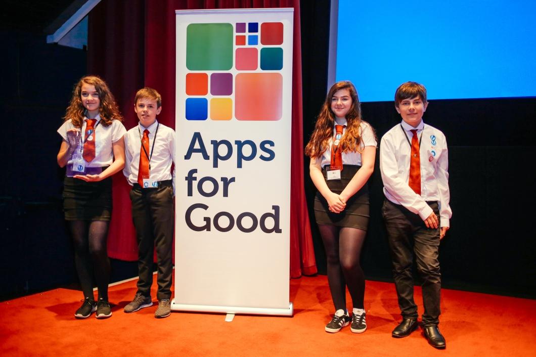 IOT winners Dunoon Grammar Abbi, Caleb, Olivia, Rory